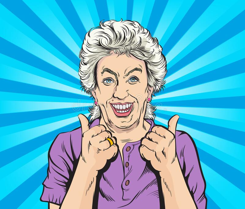 Happy old woman And satisfied, thumbs up. Pop art vector illustration drawing. Comic book work style. stock photography