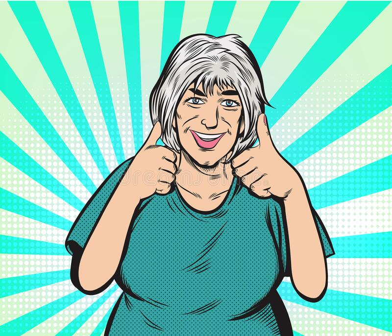 Happy old woman And satisfied, thumbs up. Pop art vector illustration drawing. Comic book work style. Separate images of people from the background vector illustration