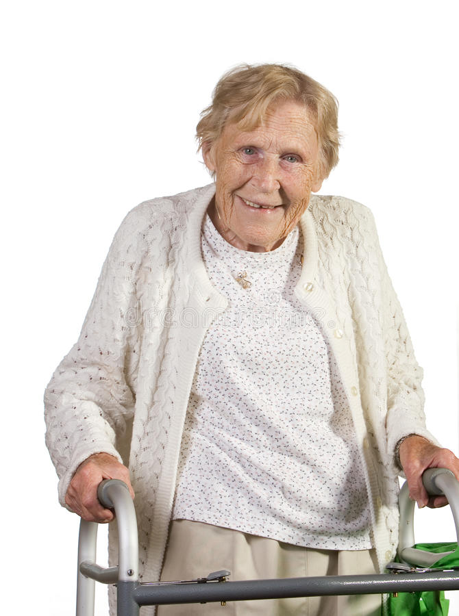 Free Happy Old Woman With Walker Stock Photo - 16225630
