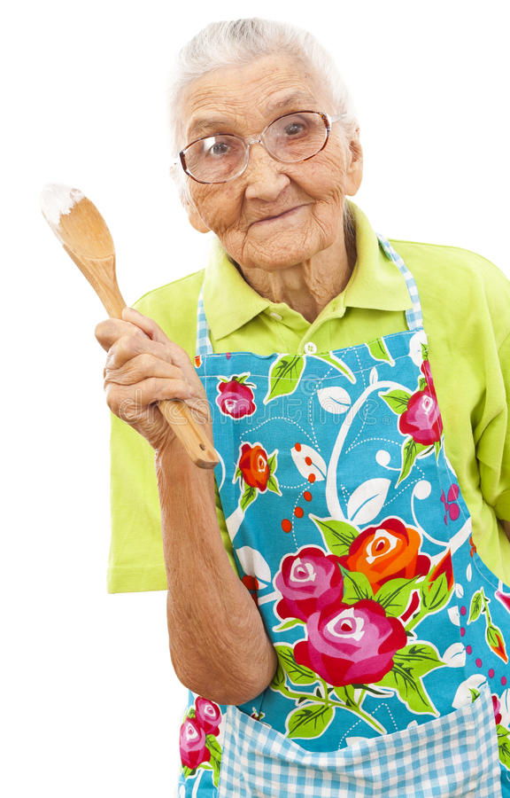 Download Happy  Old Woman With Wooden Spoon Stock Image - Image: 22759659