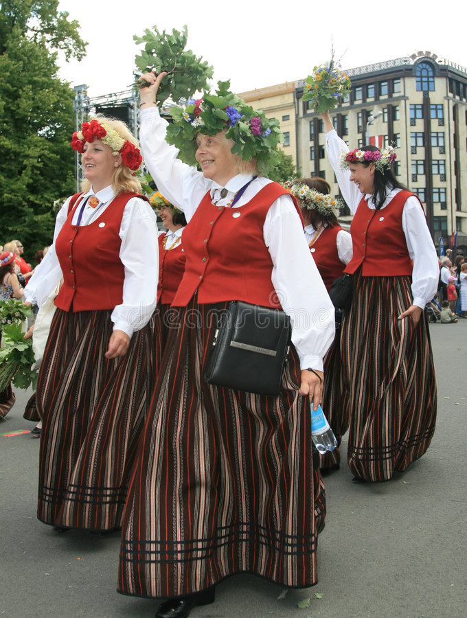 Happy old women. Latvian Nationwide Song and Dance Celebration in Riga 2008 5.-12. July Latvia royalty free stock photos