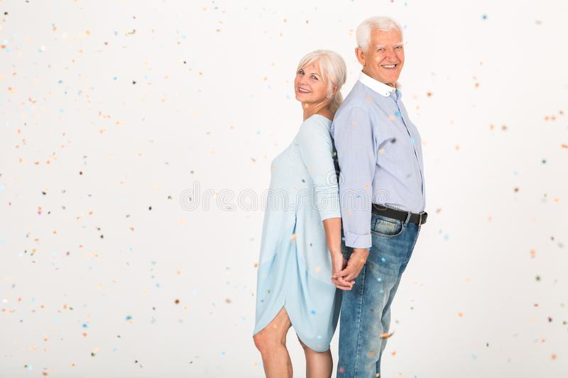 Happy older couple stock images