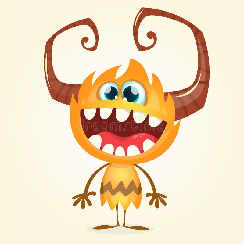 Happy orange monster. Vector Halloween horned monster character smiling royalty free illustration