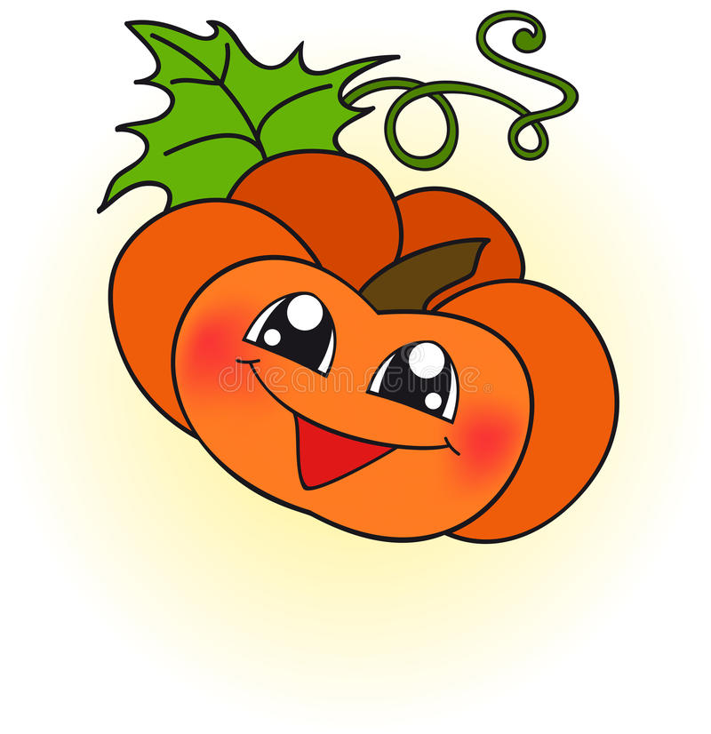 Happy orange pumpkin vector illustration