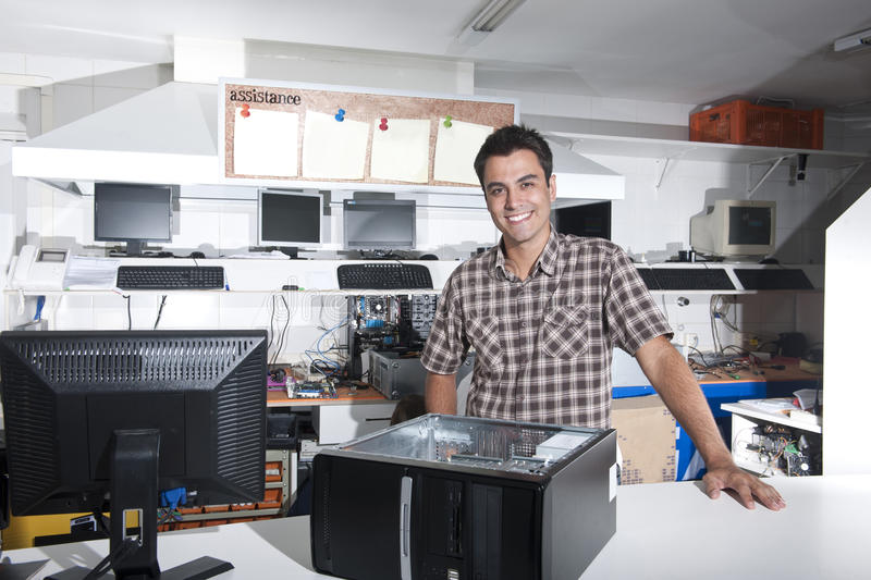 Download Happy Owner Of A Computer Repair Store Stock Photo - Image: 18116946