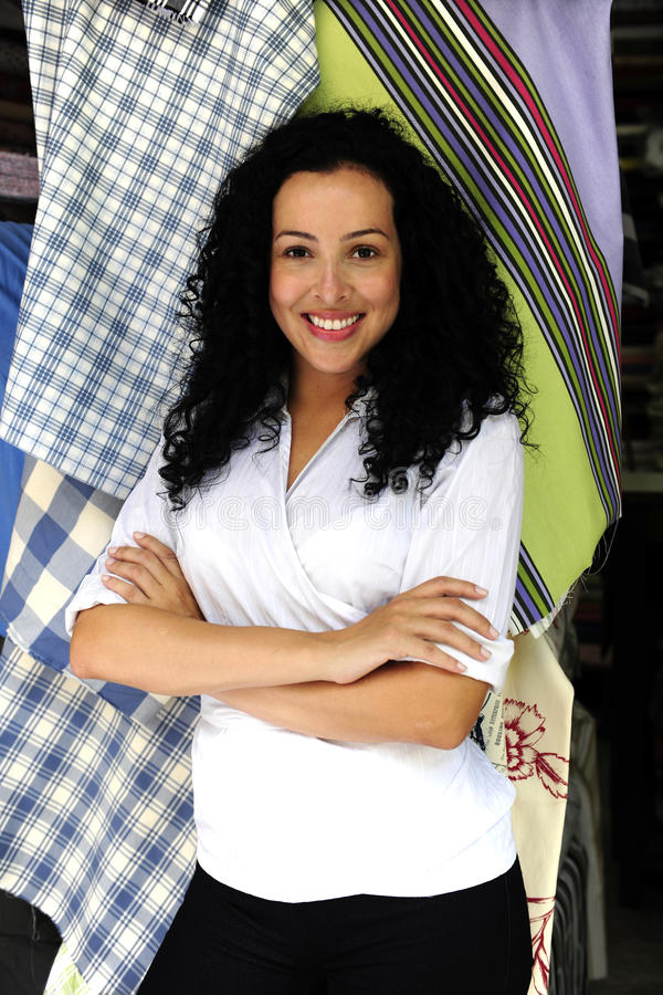 Download Happy Owner Of A Fabric Store Stock Image - Image: 12835141