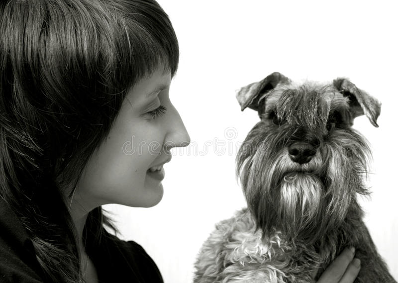 Happy owner with her pet royalty free stock photo