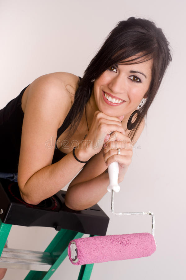 Download Happy Painter Attractive Woman Holds Roller Ladder Stock Photo - Image: 26275328