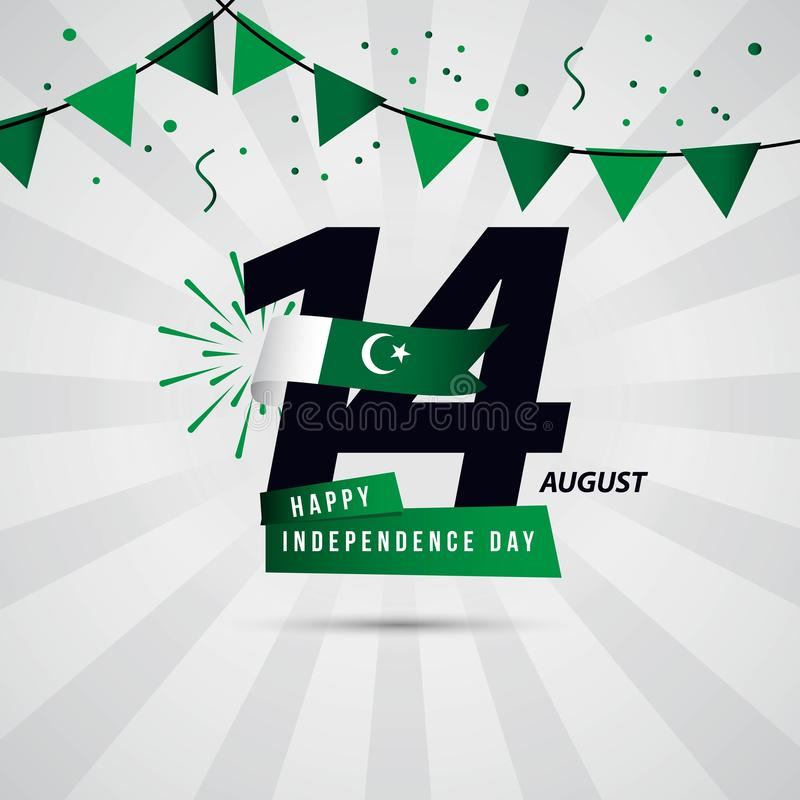 Happy Pakistan Independence Day 14 August Vector Template Design. Illustration celebration background white banner flag card beautiful art green color abstract royalty free illustration