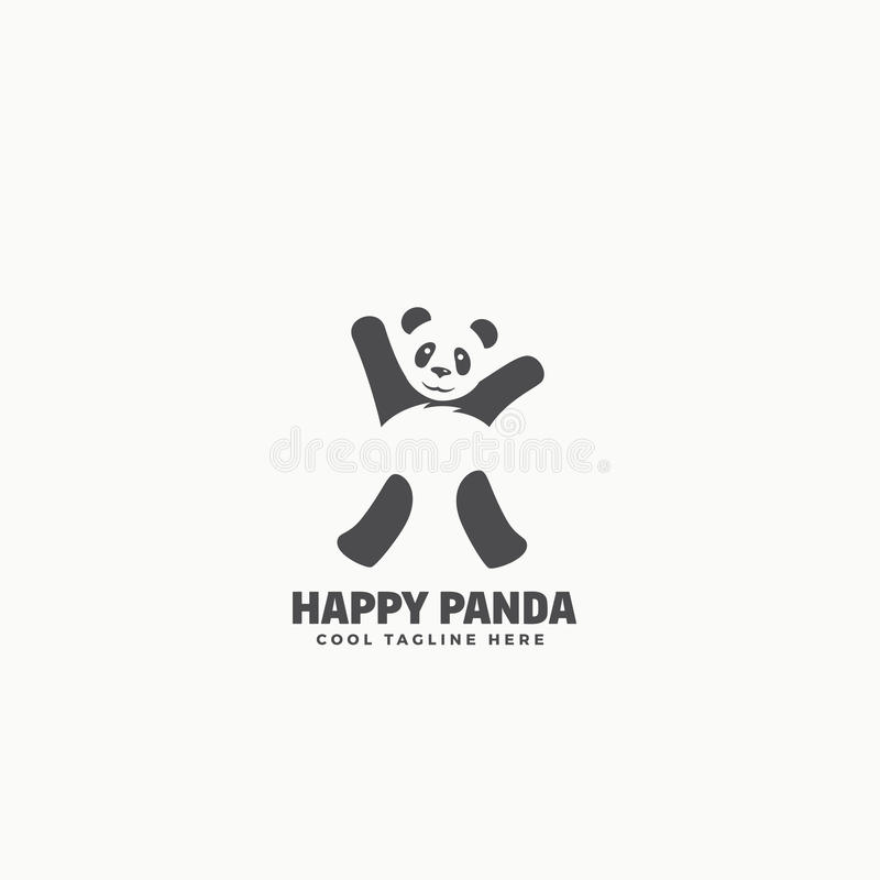 Happy Panda Abstract Vector Emblem or Logo Template. Funny Dancing Bear Silhouette with Negative Space. royalty free illustration