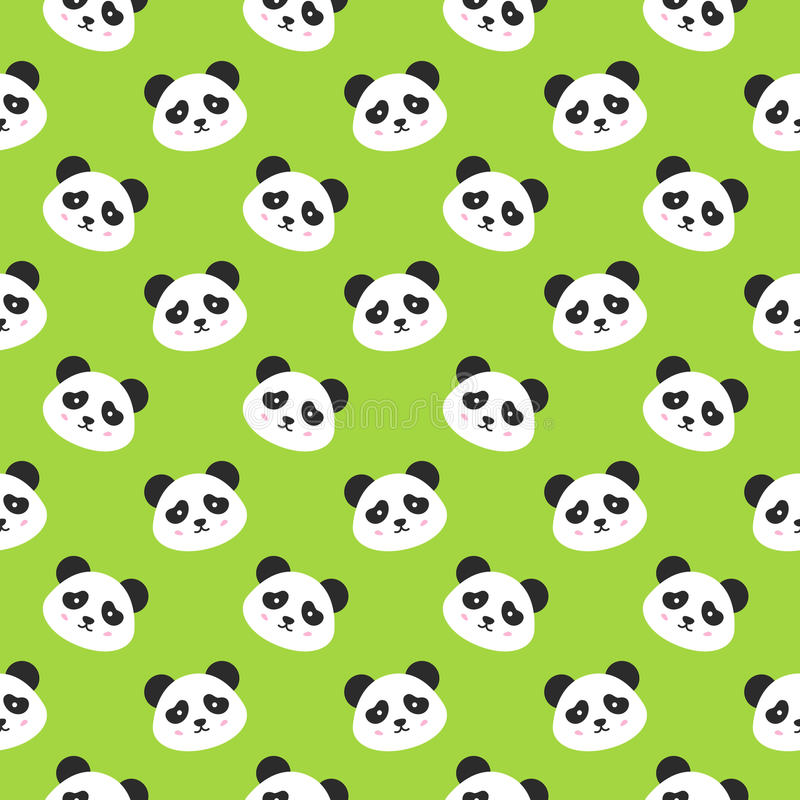 Happy Panda Faces Seamless Pattern vector illustration