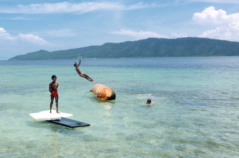 Happy Papua Kids stock image