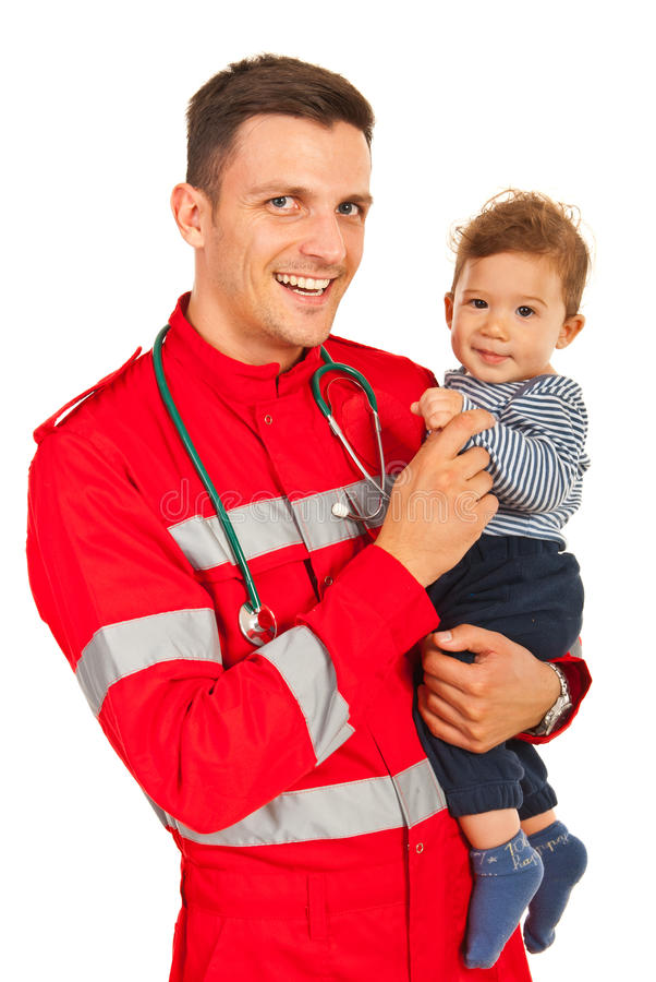 Happy paramedic and baby boy. Happy paramedic men holding baby boy isolated on white background stock image