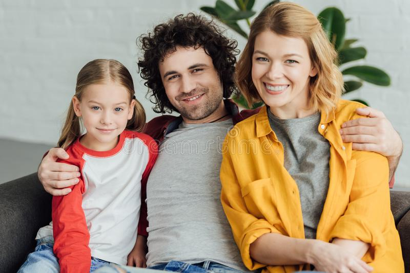 happy parents with cute little child royalty free stock photos