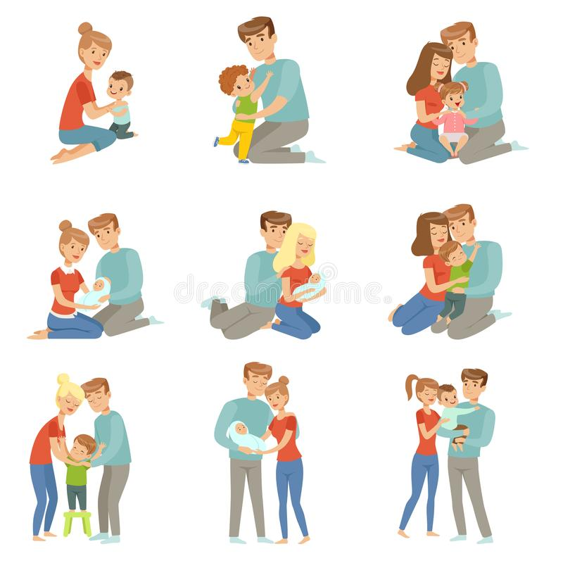 Happy parents embracing their kids set, mother and father hugging their children, happy family concept vector royalty free illustration
