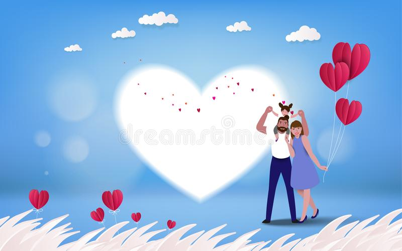 Happy parents having good time with their little children. Family on heart background. Paper cut stlyle. Vector illustration royalty free illustration
