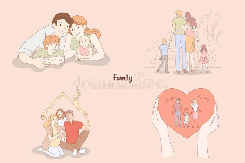 Happy parents with little children, couple with kids together at home or on outdoor stroll, family relationship banner. Traditional values, happiness concept stock illustration