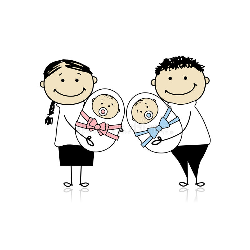 Download Happy Parents With Newborn Twins Stock Vector - Image: 18011167