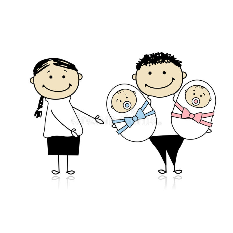 Download Happy Parents With Newborn Twins Stock Vector - Illustration: 18011170