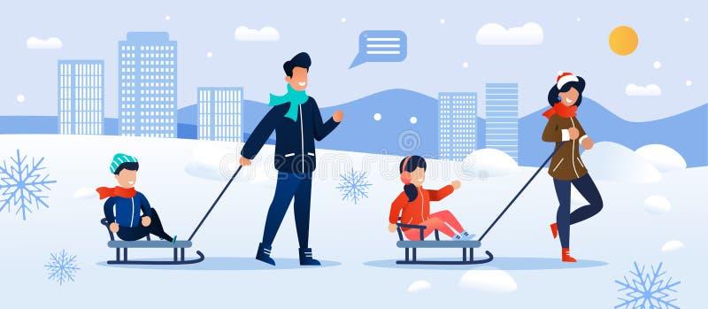 Happy Parents Sledding Children in Winter Park stock illustration