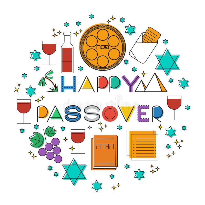 happy passover. greeting card stock vector - illustration of outline
