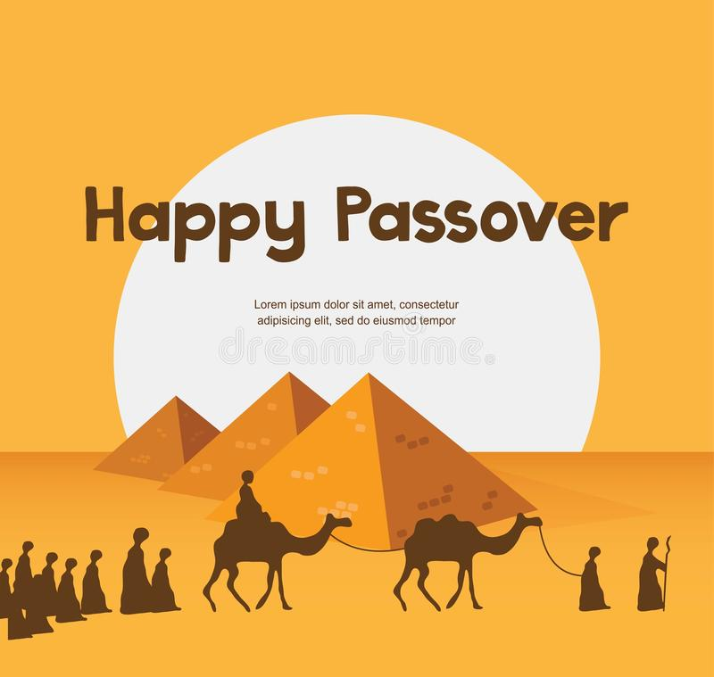 Happy Passover In Hebrew Jewish Holiday Card Template Stock Vector