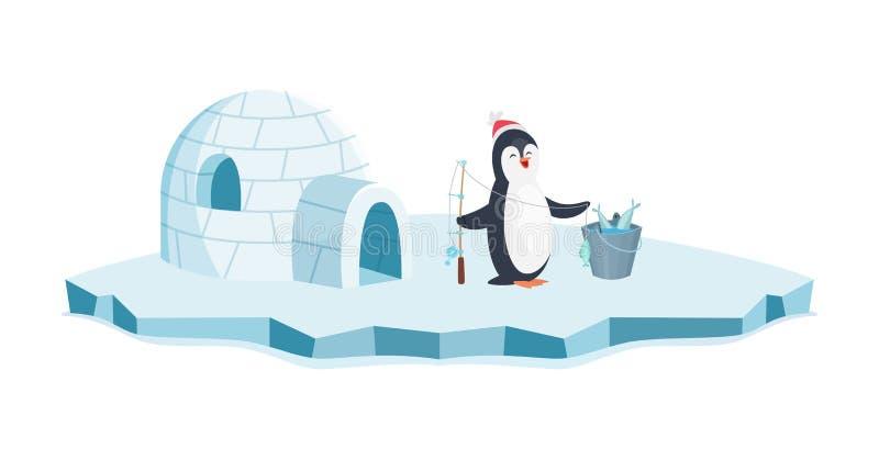 Happy penguin fishing. Christmas penguin on ice and bucket of fish vector illustration. Cartoon animal isolated on white royalty free illustration