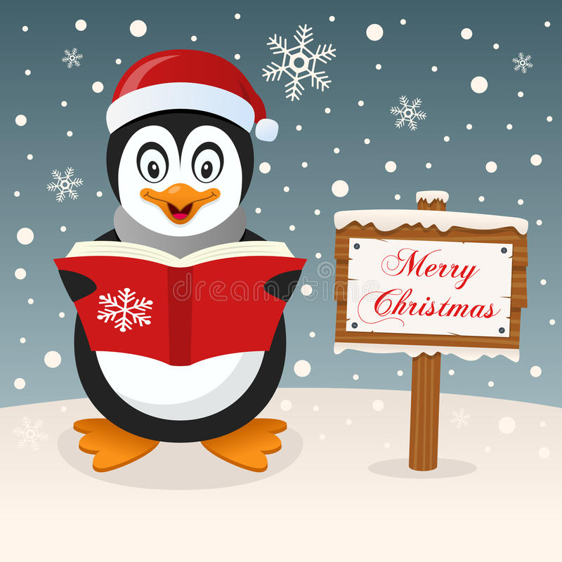 Happy Penguin & Merry Christmas Sign stock photo