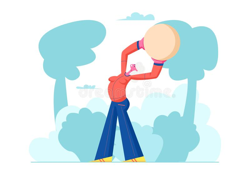 Happy Pensioner Woman Healthy Lifestyle, Senior Female Character Exercising with Fit Ball Outdoors, Sport, Aged Woman vector illustration