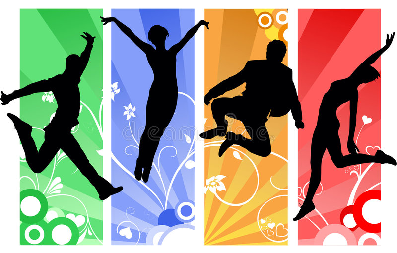 Happy people. Concept with jumping people silhouettes on vector ornaments vector illustration