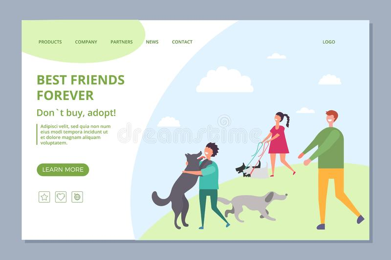 Happy people with adopt dogs. Dont buy, adopt vector landing page template vector illustration