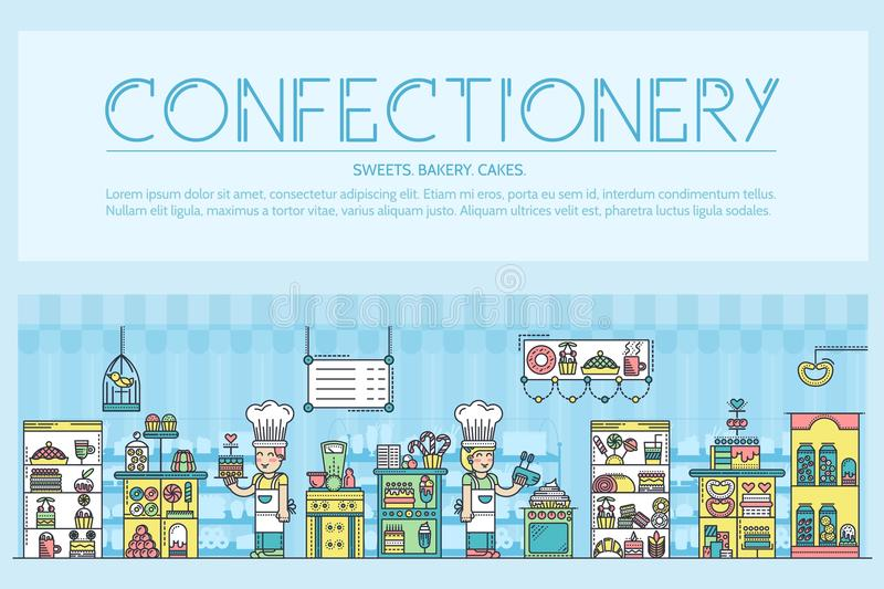 Happy people baking and decorating cakes in confectionery shop outline concept. Confectioners making sweets thin lin stock illustration