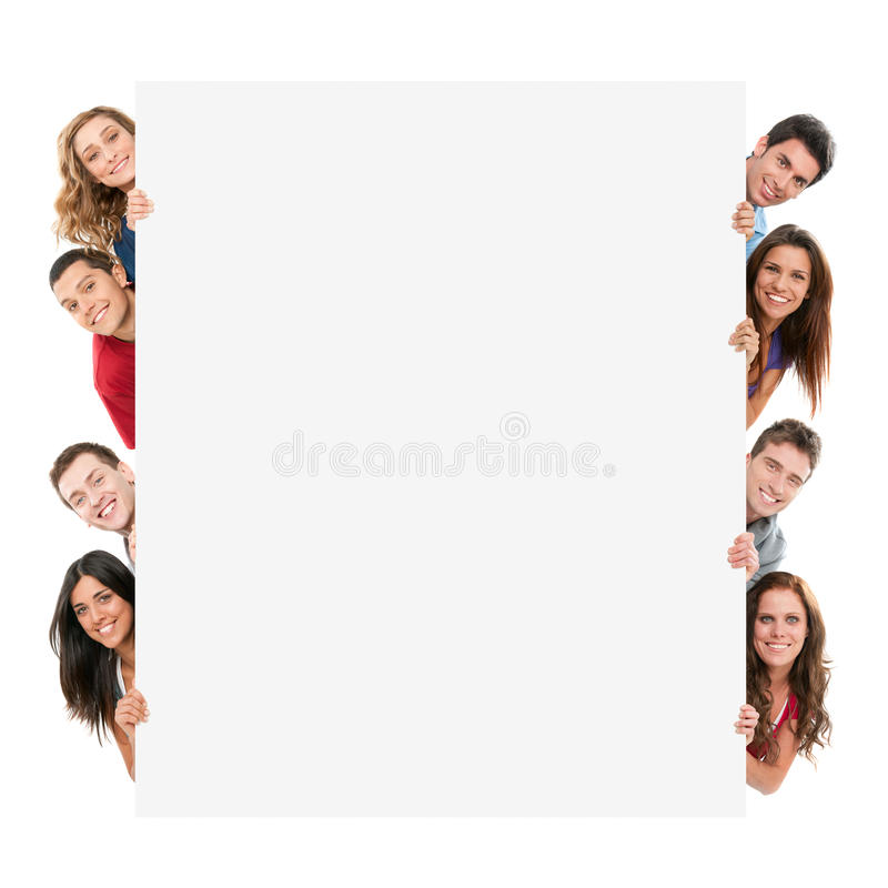 Happy People With Banner Stock Image