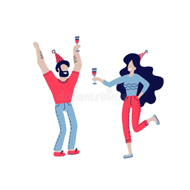 Happy people at birthday party vector isolated on white. Cartoon style man and women celebrate birthday. Girl with wine glass vector illustration