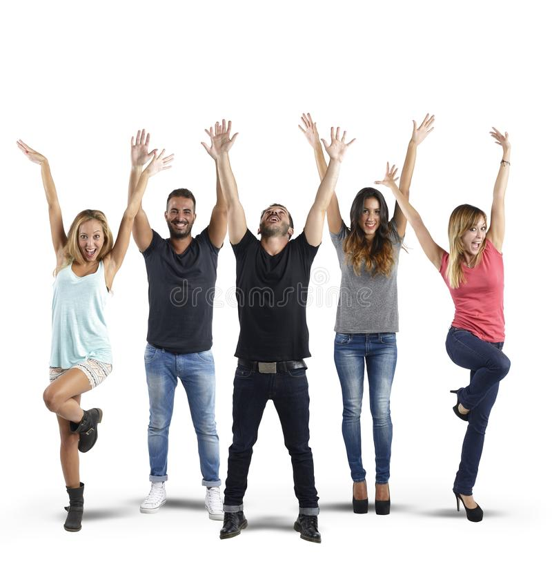 Happy people. Boys and girls laugh and smile together royalty free stock image