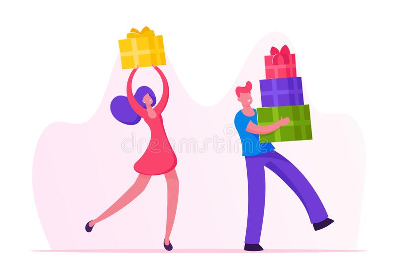 Happy People Carry Gift Boxes Wrapped with Festive Bow. Male and Female Characters Prepare Presents for Family stock illustration
