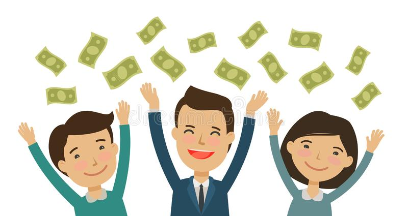 Happy people catch money. Finance, banking, earnings concept. Cartoon vector illustration. Happy people catch money. finance, banking, earnings concept cartoon vector illustration