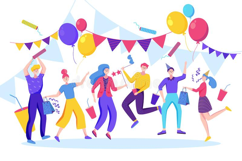 Happy people celebrating birthday, new year or another holiday event. Vector flat illustration vector illustration