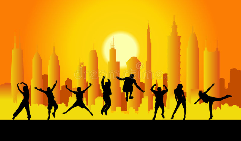 Happy people in city vector. 1