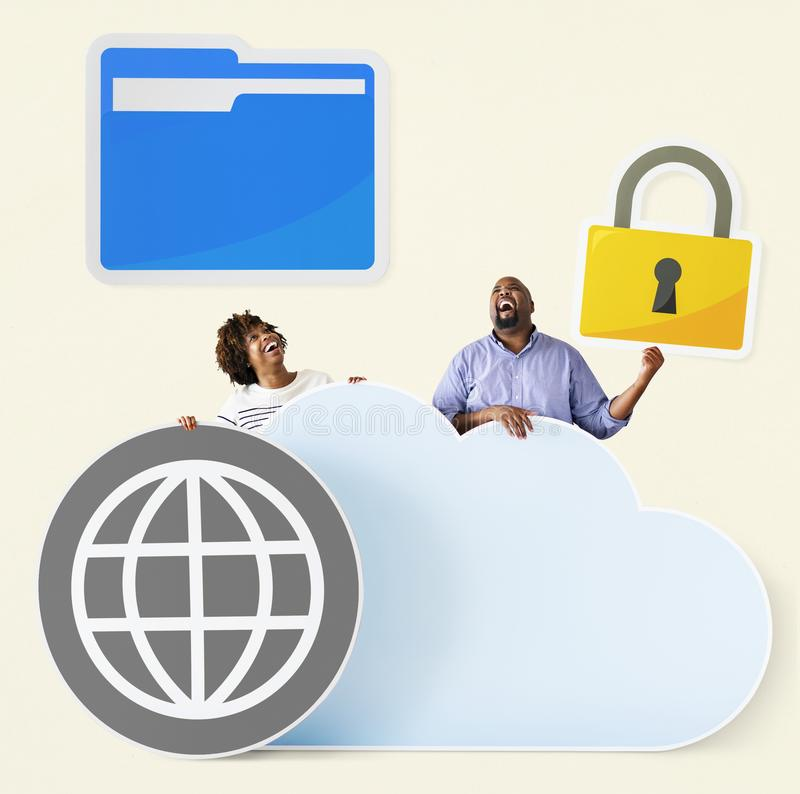 Happy people with cloud and technology icons royalty free stock photo