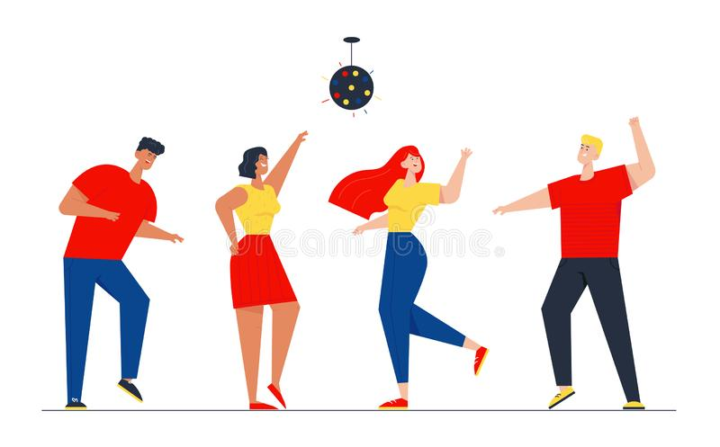 Happy People Clubbing and Dancing Disco at Night Club Stage DJ Music Party. Men and Women Characters Dance at Nightclub royalty free illustration