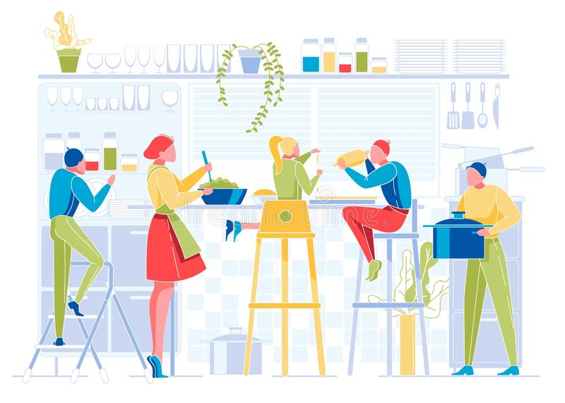 Happy People Cook on Kitchen. Big Family at Home royalty free illustration