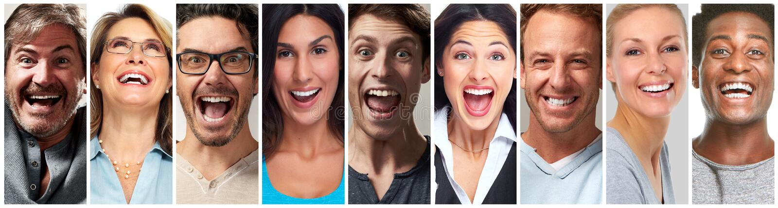 Happy people face set stock photos