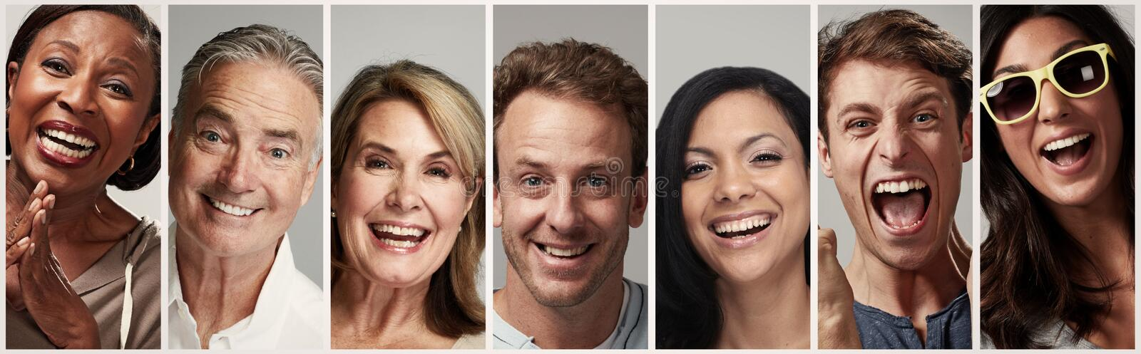 Happy people faces set stock photos
