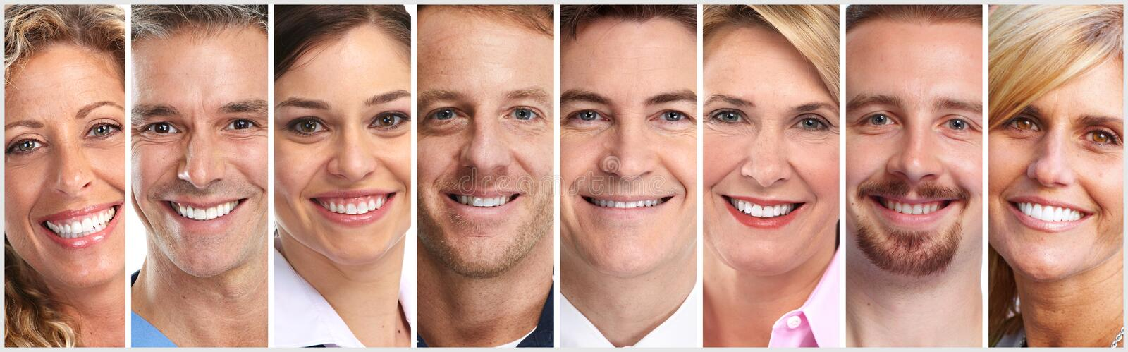 Happy people faces set royalty free stock image