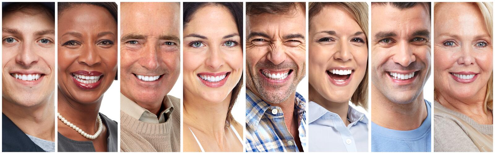 Happy people faces and smiles royalty free stock photo