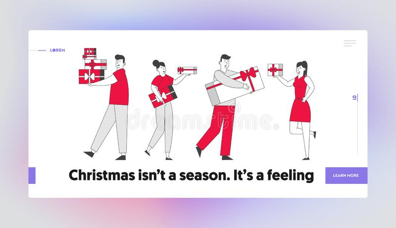 Happy People Giving Presents to Each Other Website Landing Page. Men Women Walking with Gift Boxes Greeting Family. And Friends on Christmas Web Page Banner stock illustration