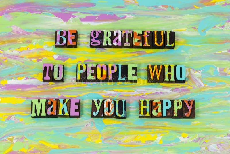 Happy people grateful gratitude love thanks letterpress type vector illustration