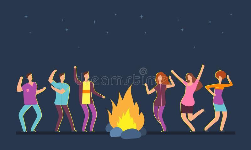 Happy people group dancing at campfire. Music festival camping vector cartoon concept vector illustration
