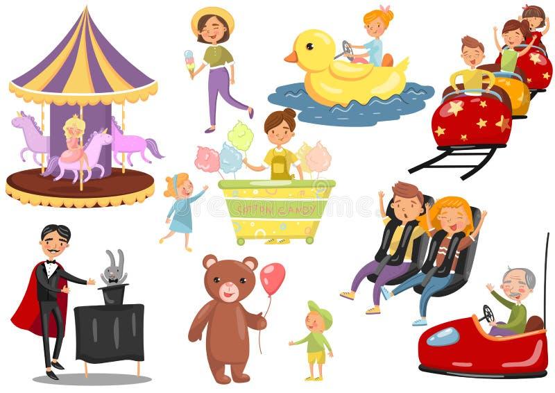 Happy people having fun in amusement park set, carousel, ferris wheel, roller coaster, car, magician cartoon vector royalty free illustration